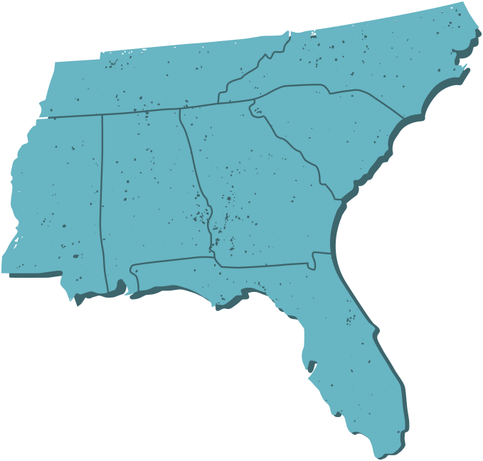 Map of the southeast showing Momma G's locations